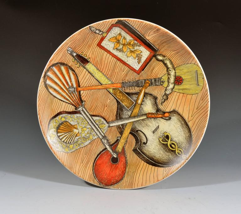 Mid-20th Century Piero Fornasetti Strumenti Musicali Plates, Set of Six For Sale