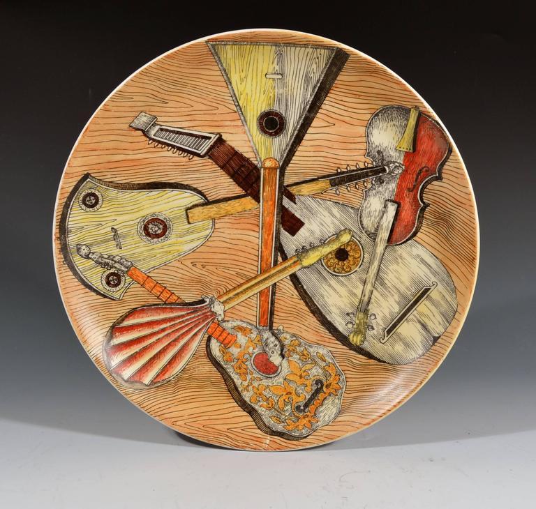 Porcelain Piero Fornasetti Strumenti Musicali Plates, Set of Six For Sale
