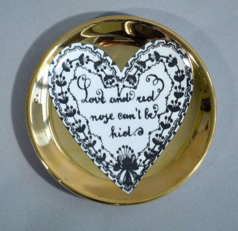 Italian Piero Fornasetti Set of Eight Porcelain Love Coasters, 1960s For Sale