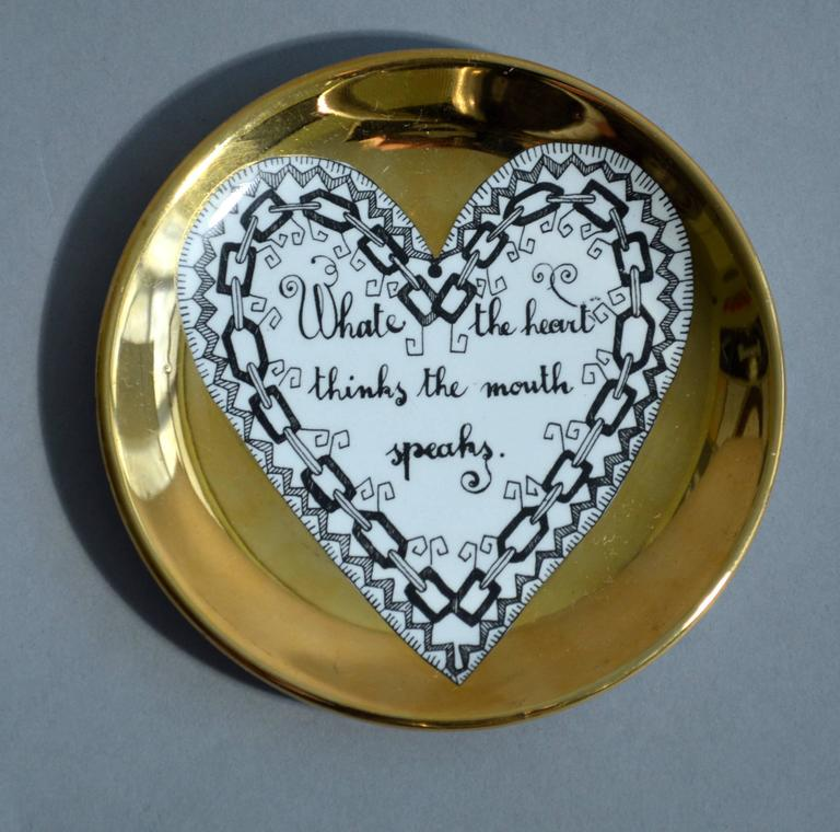 Mid-20th Century Piero Fornasetti Set of Eight Porcelain Love Coasters, 1960s For Sale