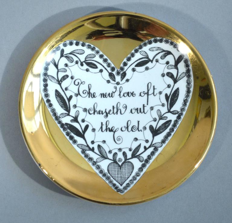 Piero Fornasetti Set of Eight Porcelain Love Coasters, 1960s For Sale 1