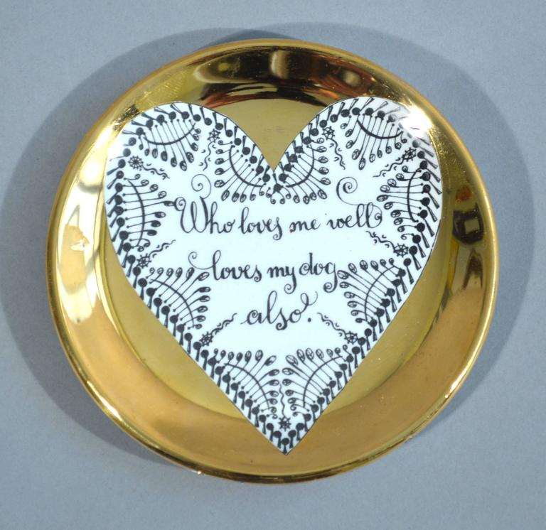 Piero Fornasetti Set of Eight Porcelain Love Coasters, 1960s For Sale 2