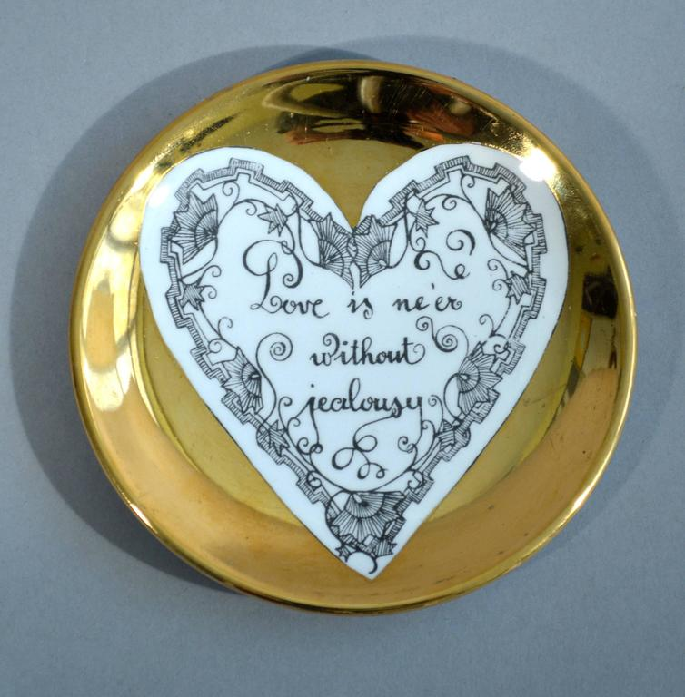 Piero Fornasetti Set of Eight Porcelain Love Coasters, 1960s For Sale 3