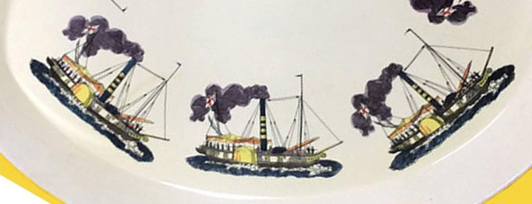 Piero Fornasetti metal steamboat tray, 