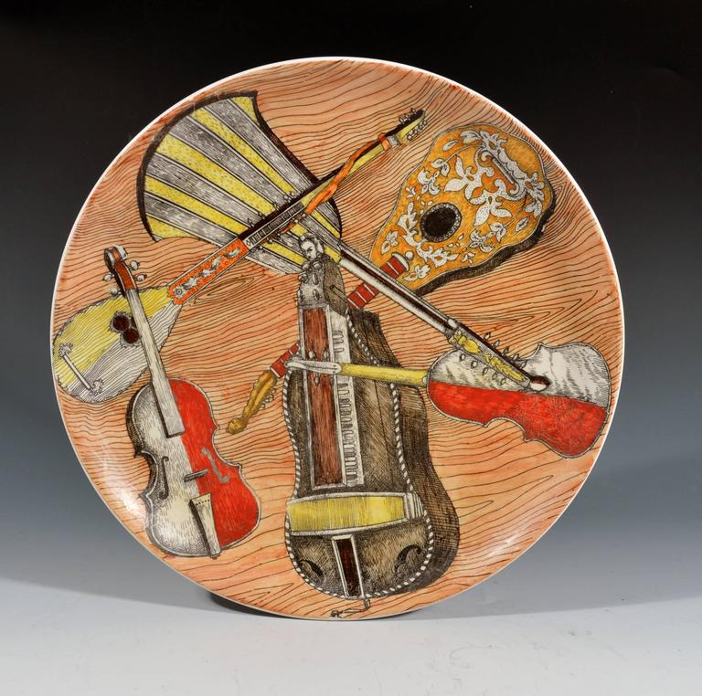 Piero Fornasetti set of six strumenti musicali plates
