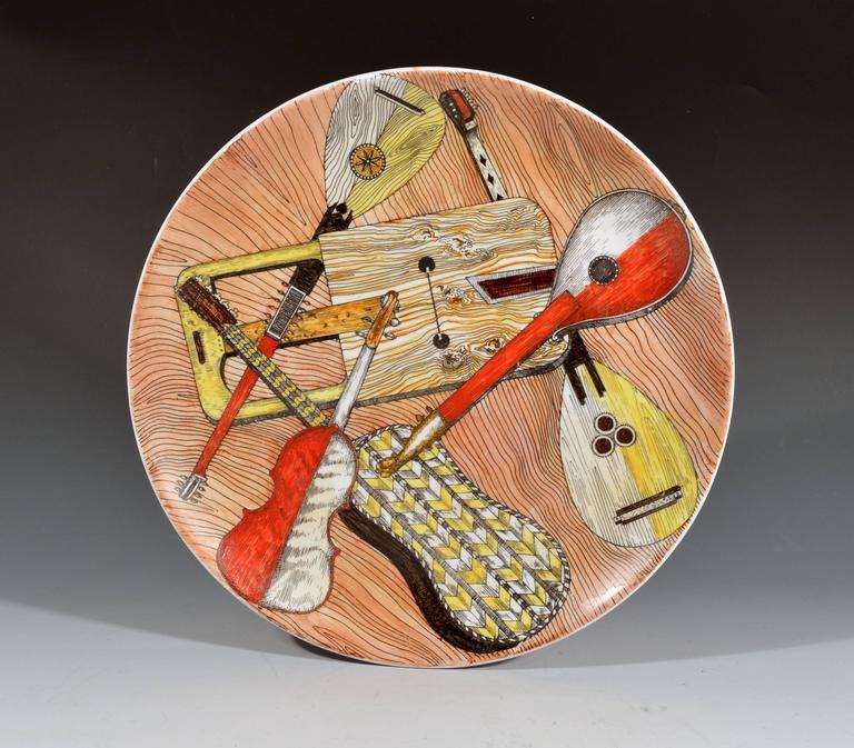 Italian Piero Fornasetti Set of Six Strumenti Musicali Plates, 1950s-1960s For Sale