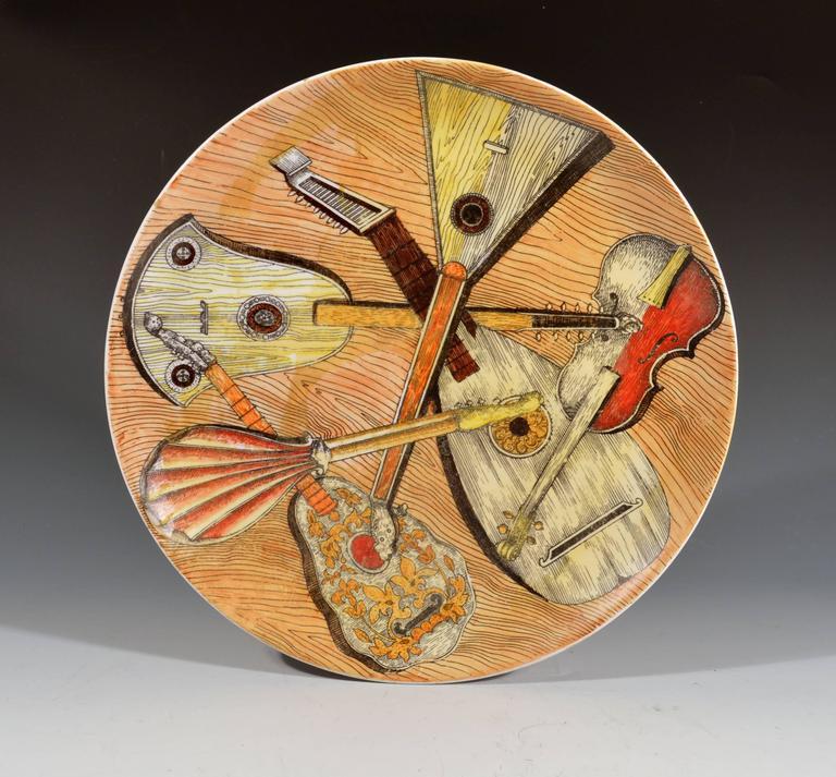 Ceramic Piero Fornasetti Set of Six Strumenti Musicali Plates, 1950s-1960s For Sale
