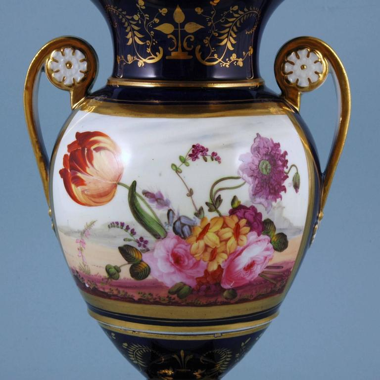 English porcelain botanical blue ground vase, Coalport, circa 1825  The Coalport porcelain vase is painted with a large central panel of flowers including a tulip on a blue ground which is highlighted in gold.