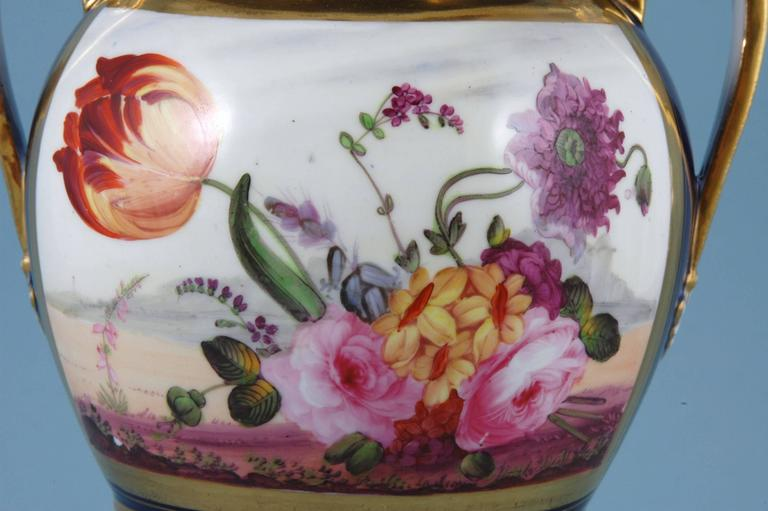 English Porcelain Botanical Blue Ground Vase, Coalport, circa 1825 In Good Condition For Sale In Maryknoll, NY