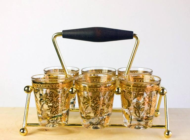 Mid-Century Modern Vintage Culver Chantilly Pattern Forty Piece Glass Drinks Set, 1950-1960s