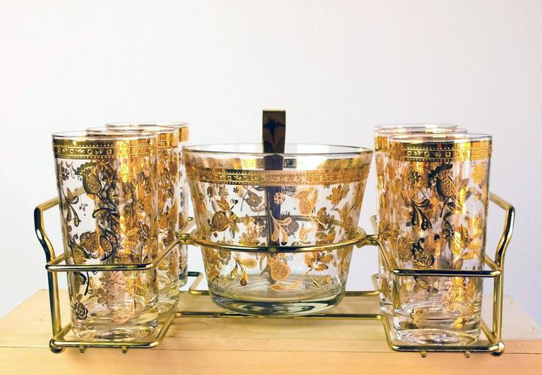 American Vintage Culver Chantilly Pattern Forty Piece Glass Drinks Set, 1950-1960s