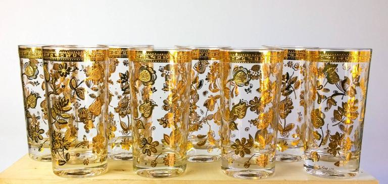 Vintage Culver Chantilly Pattern Forty Piece Glass Drinks Set, 1950-1960s 1