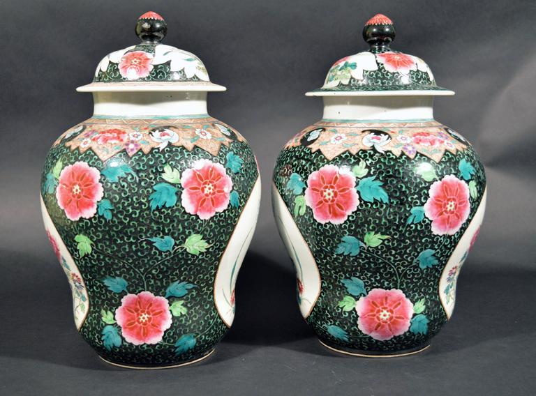 Chinese Export Famille Rose Porcelain Baluster Vases and Covers For Sale 4
