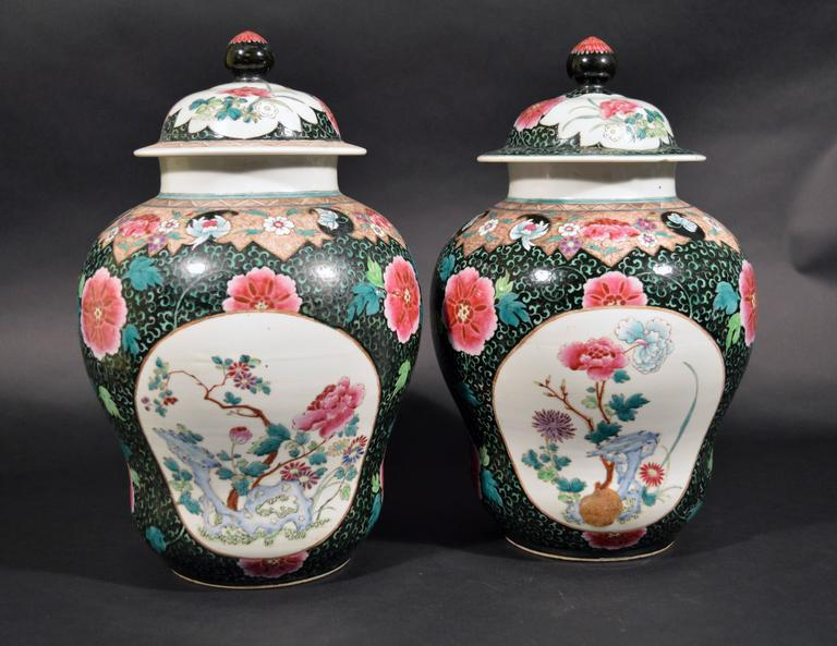 Chinese export porcelain famille rose black-ground large lidded vases each designed with two oval panels decorated with peonies and other flowers on stylized rockwork in blue.