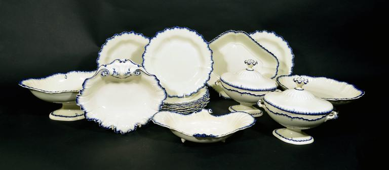 English Pottery Creamware Blue Enamel Shell-Edge Dessert Service For Sale 1
