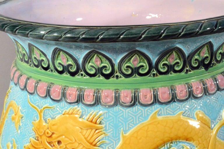 English Minton Majolica Chinoiserie Dragon Jardiniere, dated 1871 For Sale