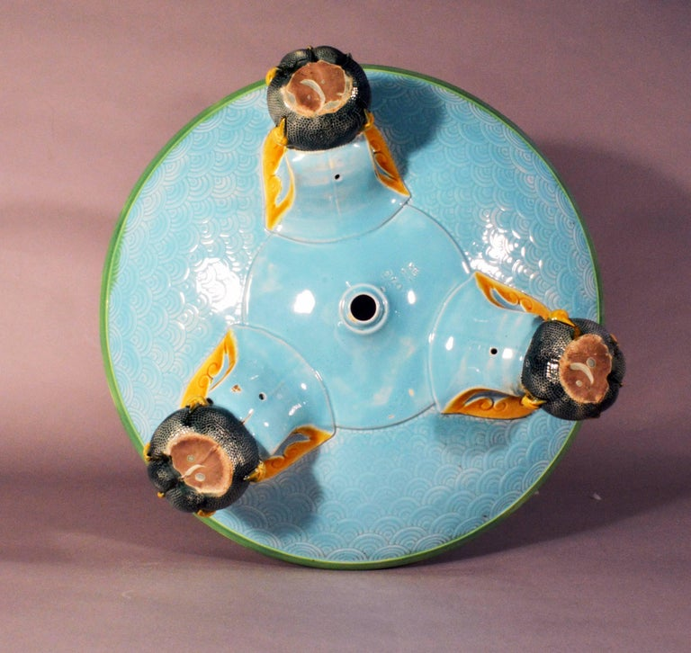 Minton Majolica Chinoiserie Dragon Jardiniere, dated 1871 In Excellent Condition For Sale In Maryknoll, NY