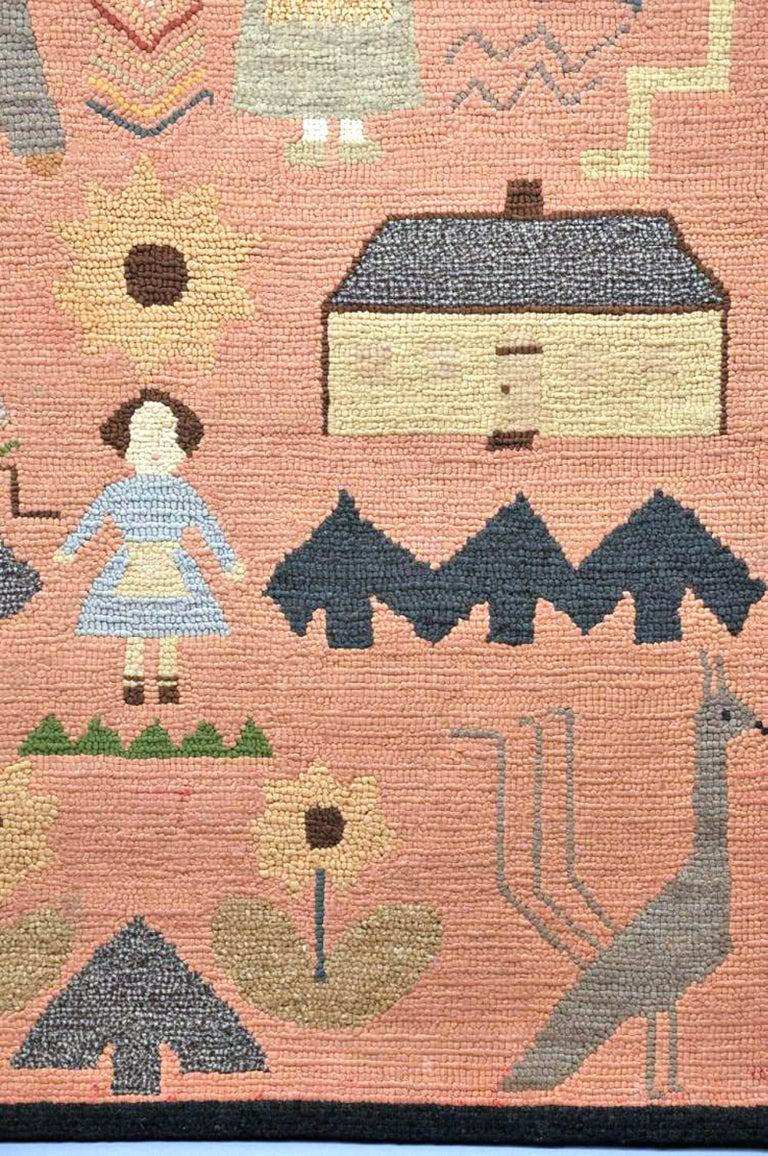 American Folk Art Pictorial Hooked Rug, Mounted on Stretcher, Late 19th Century For Sale 1