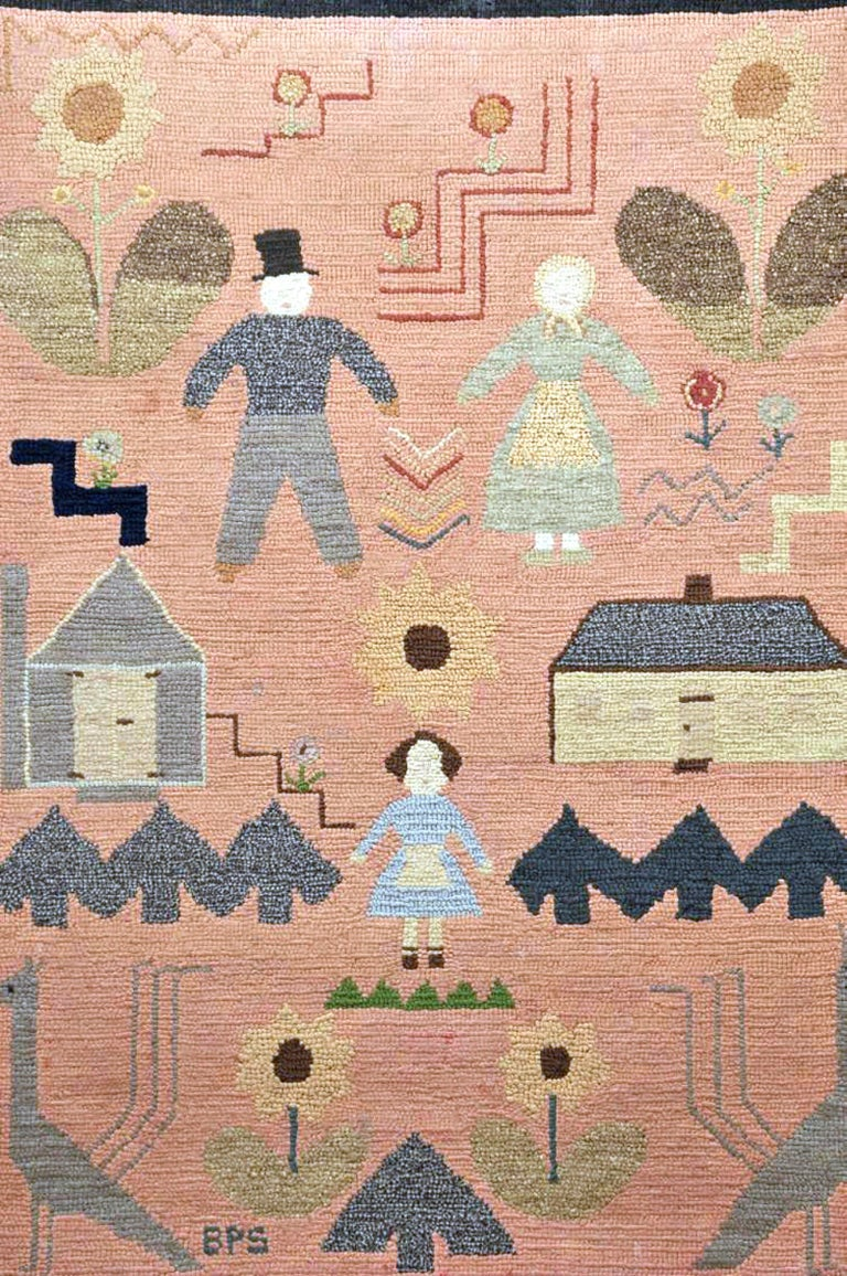 American Folk Art Pictorial Hooked Rug, Mounted on Stretcher, Late 19th Century For Sale 3