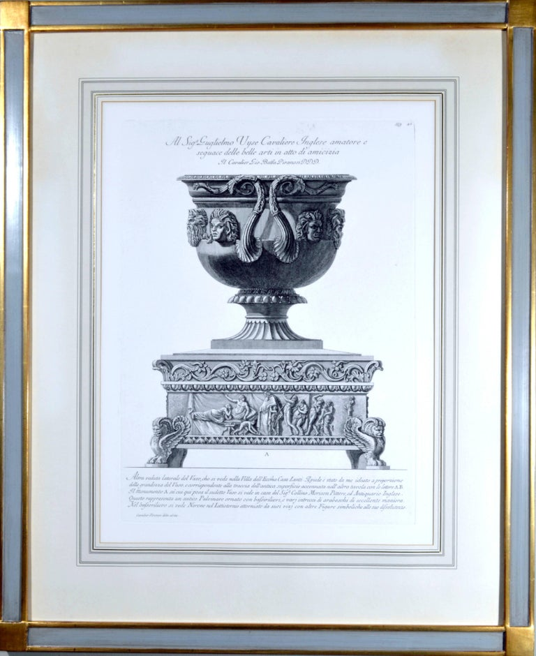Large framed etching of a massive urn by Francesco Piranesi in the style of his father, Giovanni Battista Piranesi, plate 549 #43, signed lower left on plate Cavalier Piranesi Delin, ed inc. Paris edition, ca. 1820 (early 19th century). From the