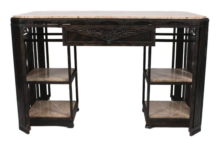 French Art Deco Wrought Iron and Marble Partner's Desk by Paul Kiss, circa 1920s 2