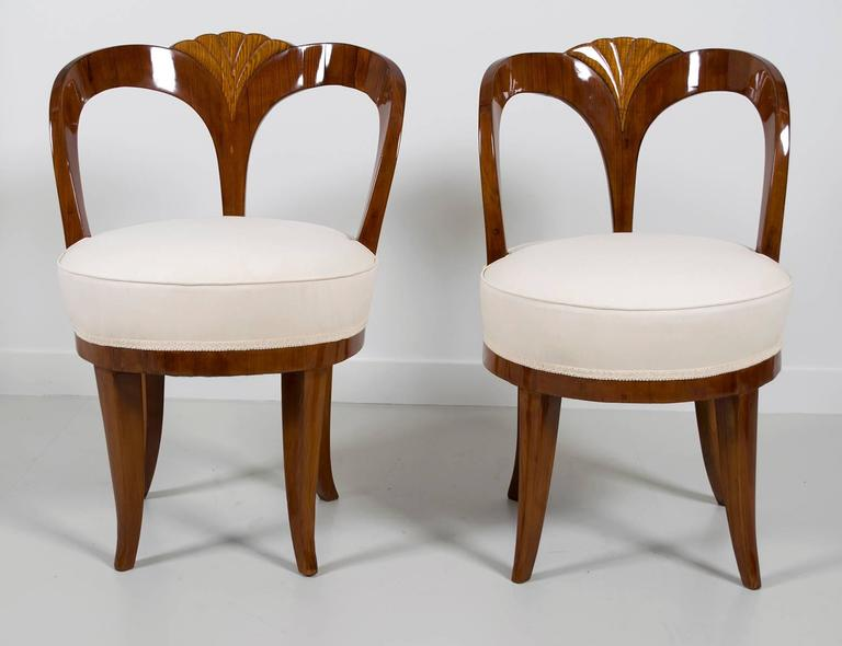 """Pair of Early 19th Century Austrian Biedermeier Ash Wood """"His and Hers"""" Chairs 8"""