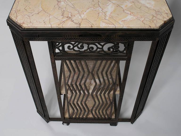 French Art Deco Wrought Iron and Marble Partner's Desk by Paul Kiss, circa 1920s 3