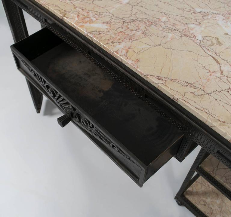 French Art Deco Wrought Iron and Marble Partner's Desk by Paul Kiss, circa 1920s 5