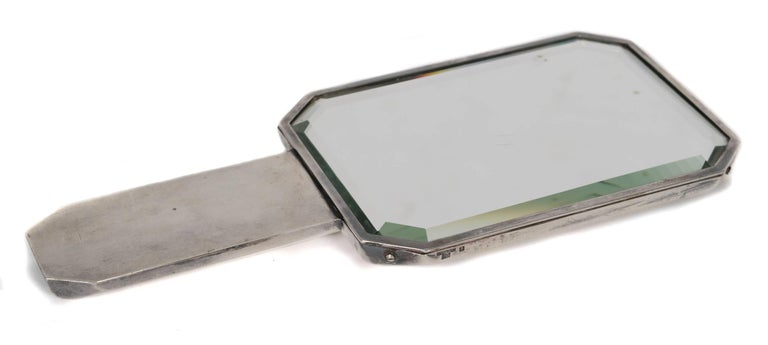 Christofle Silver Plate Hand Mirror by Luc Lanel, circa 1920 3