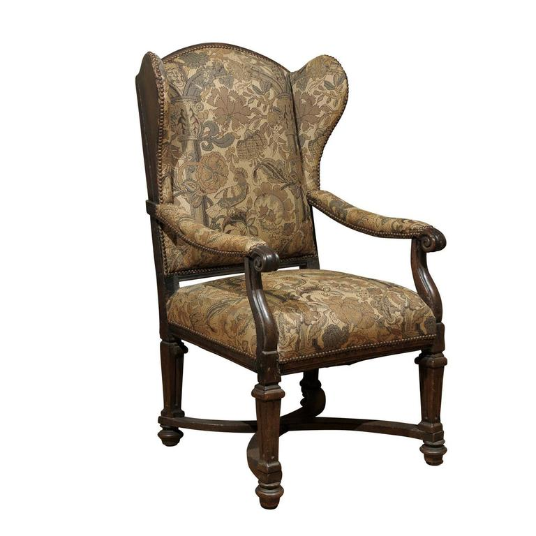18th Century English Upholstered Wingback Chair For Sale