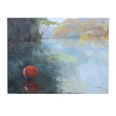 Original Oil Painting, Red Buoy on the Lake