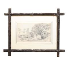 English Antique Pencil Sketch in Black Forest Frame