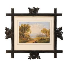 Spectacular Black Forest Frame and Watercolor