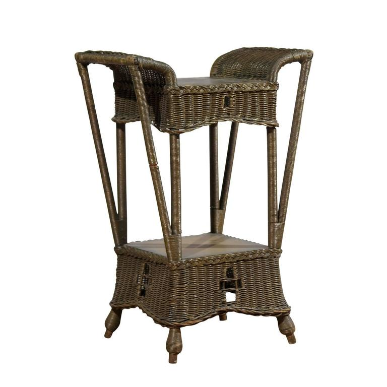 American wicker side table at 1stdibs for American rattan furniture manufacturer