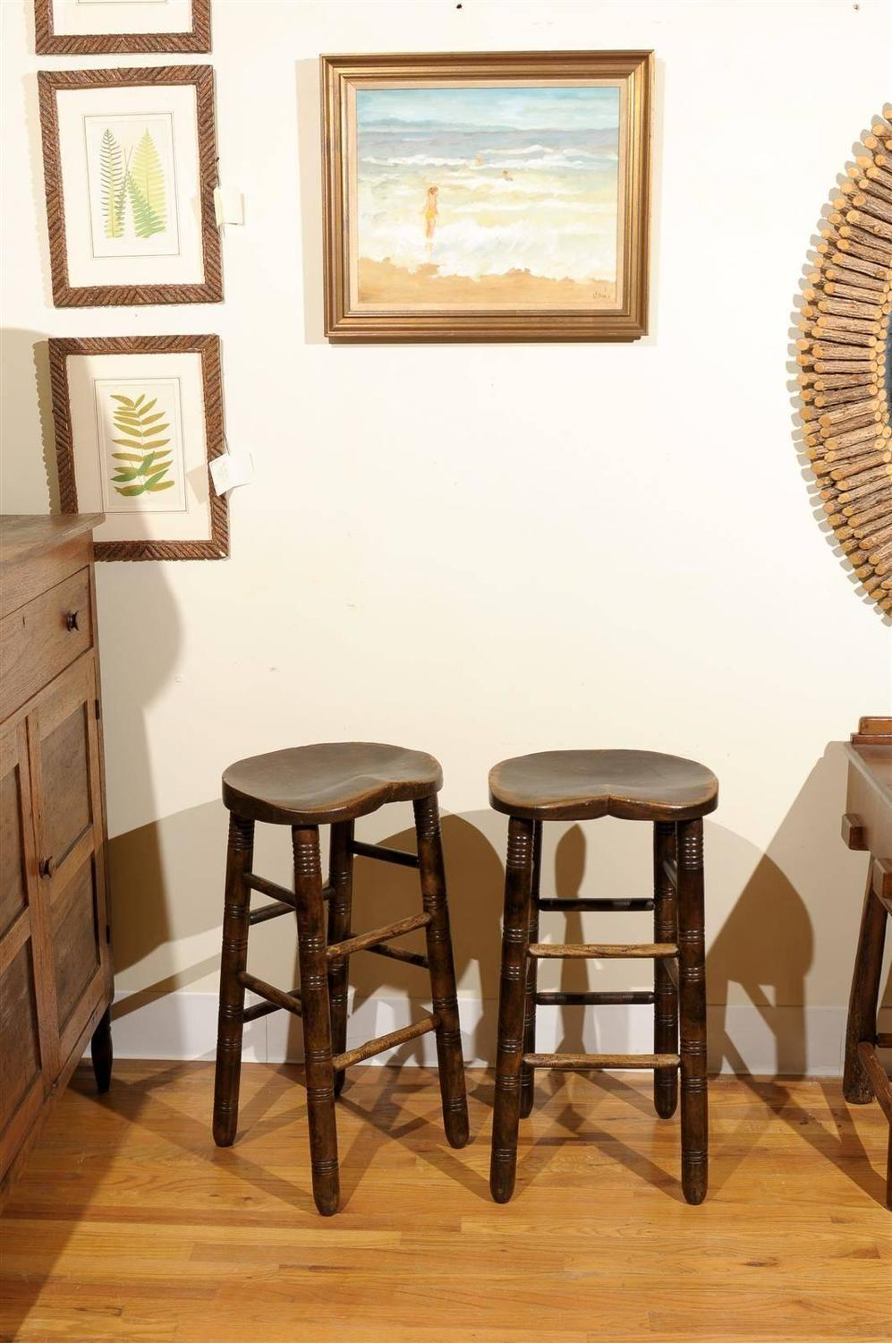 English Saddle Seat Stools At 1stdibs