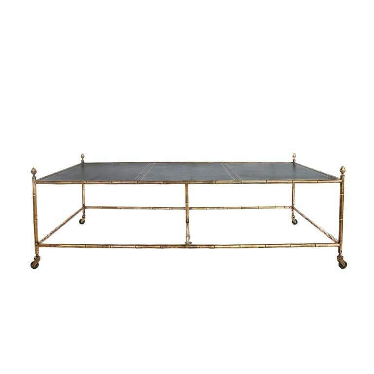 Large Brass Bamboo Coffee Table with a Leather Top For Sale