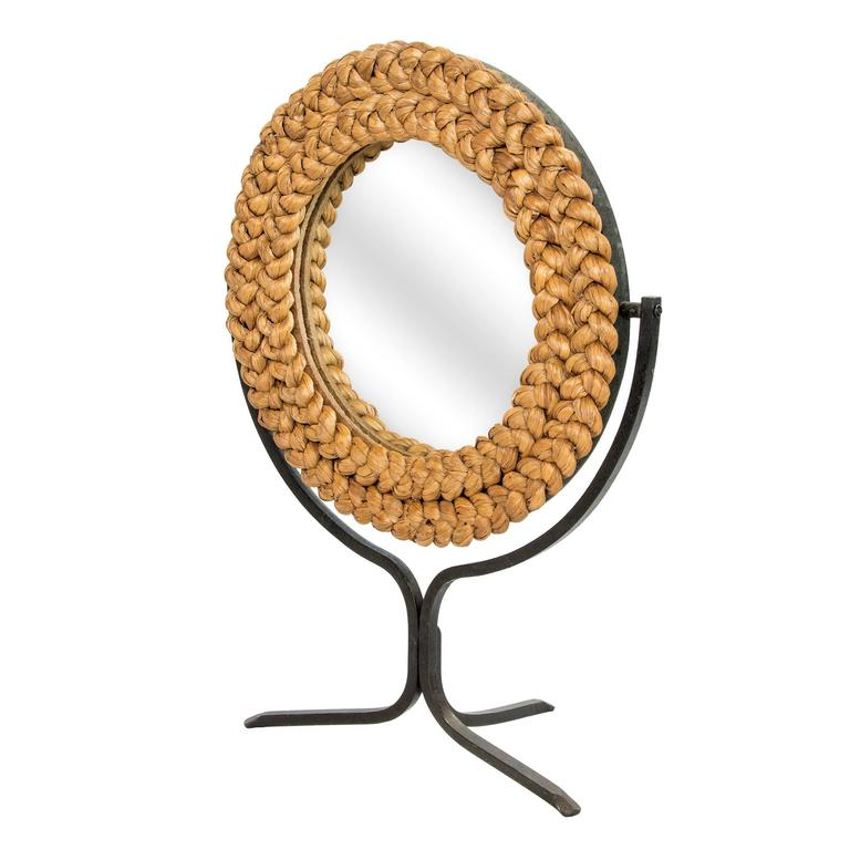 Handmade Rope Dressing Mirror on a Tripod Black Iron Stand 2