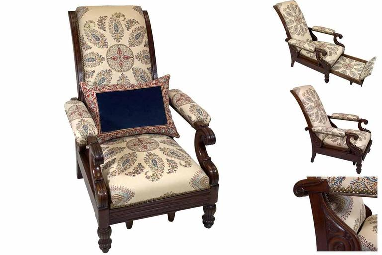 Late Empire Mahogany Armchair Featuring Hand-Printed Blue and Red Paisley Linen 2