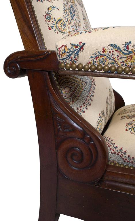 Late Empire Mahogany Armchair Featuring Hand-Printed Blue and Red Paisley Linen 3