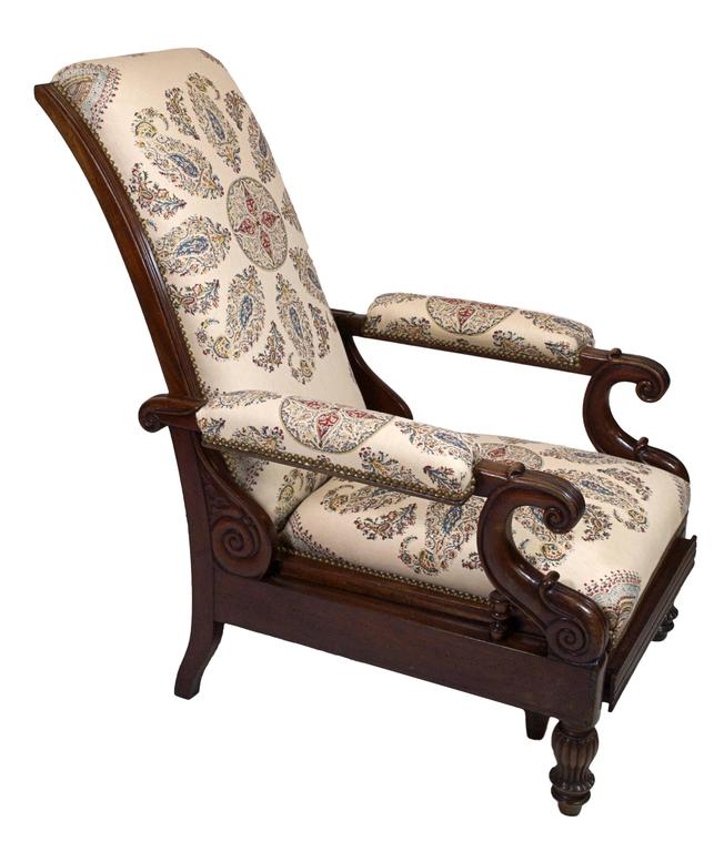 Late Empire Mahogany Armchair Featuring Hand-Printed Blue and Red Paisley Linen 4