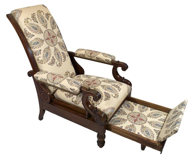 Late Empire Mahogany Armchair Featuring Hand-Printed Blue and Red Paisley Linen 5
