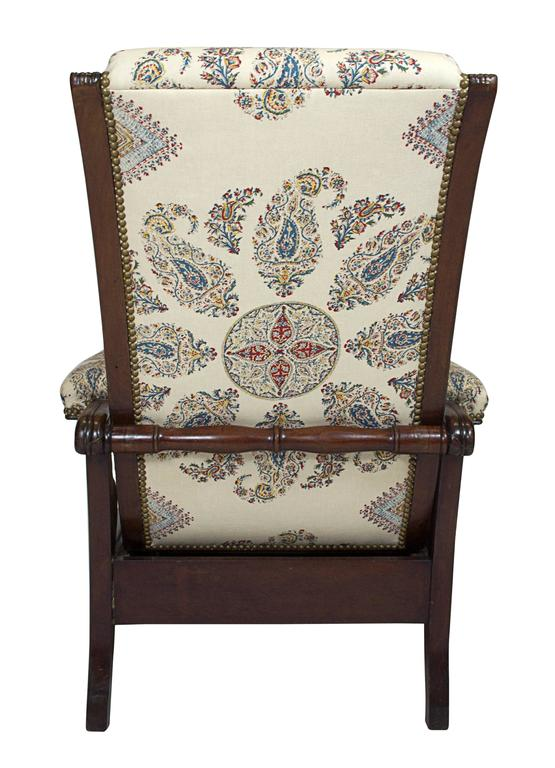 Late Empire Mahogany Armchair Featuring Hand-Printed Blue and Red Paisley Linen 6