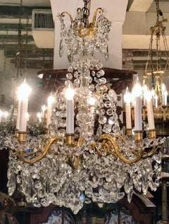 Estate French Bronze D'Ore and Crystal 8 Light Chandelier, Circa 1940-1950