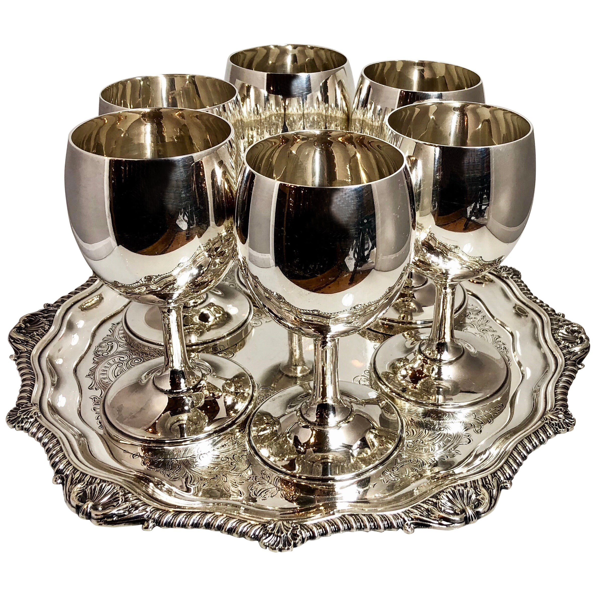 Set of Six Estate American Sterling Silver Cordial Glasses, circa 1930