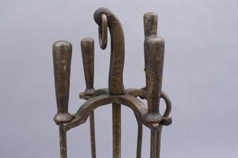 1920s Cast Iron Hammered Fire Tool Set at 1stdibs