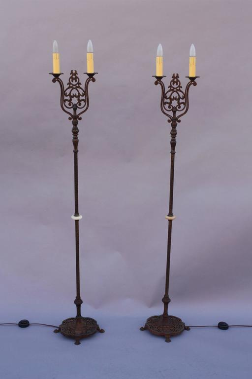 Antique Pair Of 1920s Double Floor Lamp Torchieres At 1stdibs