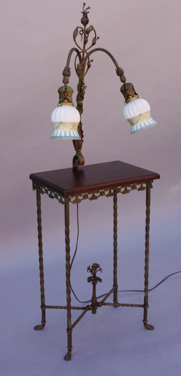 1920s wrought iron table with attached lamp for sale at 1stdibs