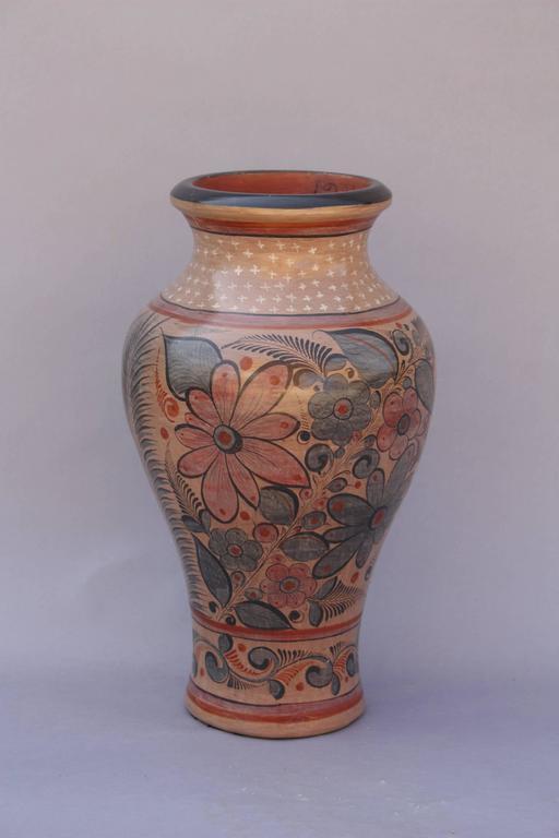 20th Century Mexican Tonala Pottery Floor Vase At 1stdibs