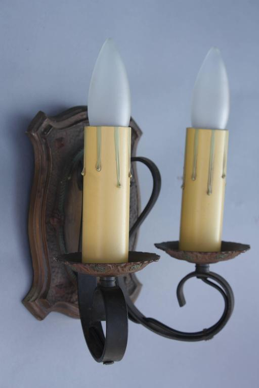 North American Pair of 1920s Two-Light Sconces For Sale