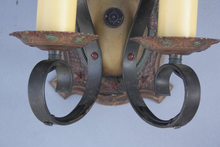 Early 20th Century Pair of 1920s Two-Light Sconces For Sale
